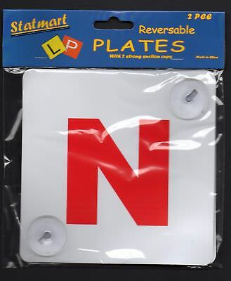Reversable N Plate newly qualified novice drivers 2 strong suction cups 2PC