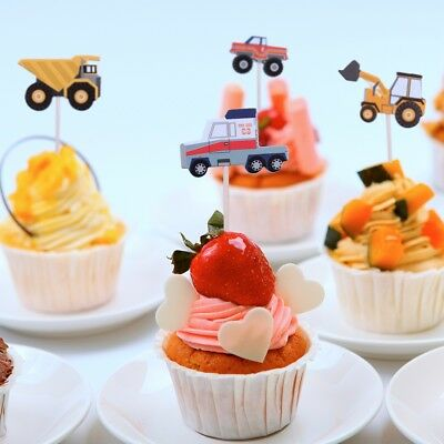 24pcs Cartoon Car Truck Cupcake Toppers Picks Birthday Party Baby Shower Decor