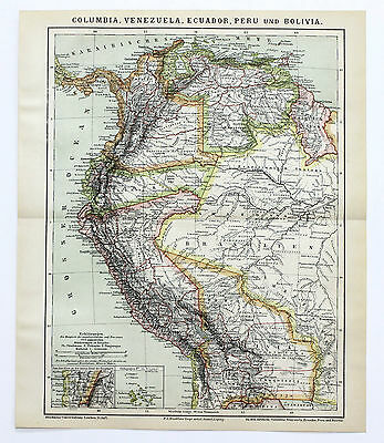 1886 South America Brazil Columbia Map Amazon Peru Bolivia Original German