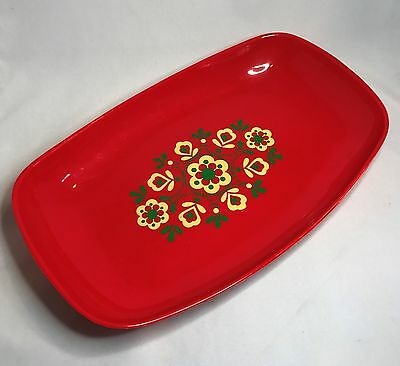 Vintage EMSA Red Serving Tray - Retro Floral Pattern - West Germany