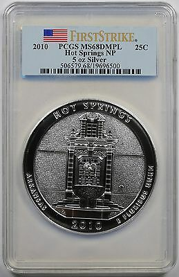 2010 ATB Hot Springs Silver 5oz 25C MS 68 DMPL PCGS First Strike