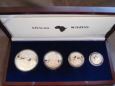 2003 Zambia proof set of 4 coins 2 1 1/2 1/4 oz silver African Wildlife elephant
