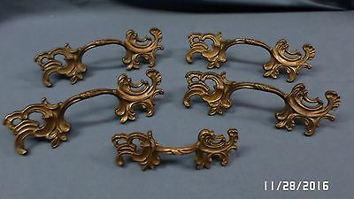 "839D Vtg 5 ORNATE Bronze Finish Pulls/Handles 4 BIG 6.5"" & 1 Smaller 4.75"" EXC !"