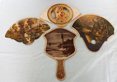Lot of 4 Vintage Advertising Hand Fans Trifold Handheld Indiana Companies VGC