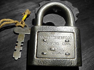Antique Yale Lock Yale and Towne Padlock Steele Lock with Key Dog