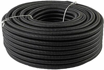 "25 Ft 5/8"" Inch Split Wire Loom Conduit Corrugated Plastic Tubing Sleeve Tube US"