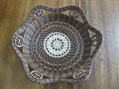 Six Nut Star Pine Needle Basket with Maroon Band Accent
