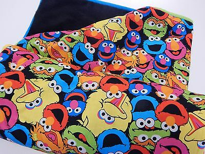 Sesame Street Bright Faces Blanket - Fleece Backed - 100% Cotton Top 100 x 148cm