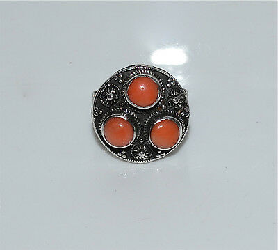 Old or Antique Chinese Coral and Silver Ring Size 6