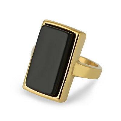 Fashion Stainless Steel Men Women Black Stone Gold Plated Square Ring Size 7-12