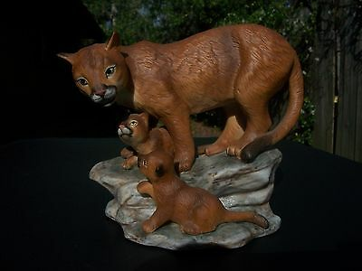 Homco Masterpiece Porcelain 1994 Mountain Lions Figurine Endangered Species