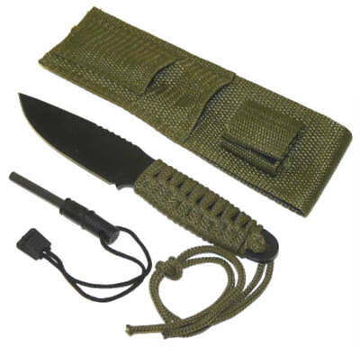"""8"""" Chrome Full Tang Hunting Knife Green Cord Wrapped Handle and Fire Starter"""