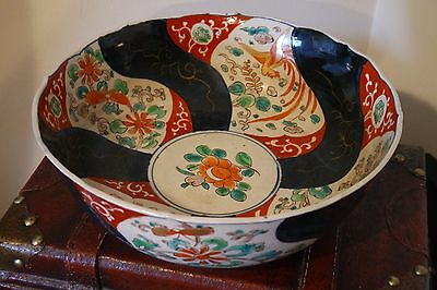 Antique Hand Painted  Japanese Imari Bowl / Very Old/ 9 1/2''