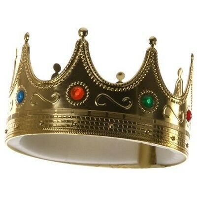 Gold Plastic King Queen Jeweled Crown