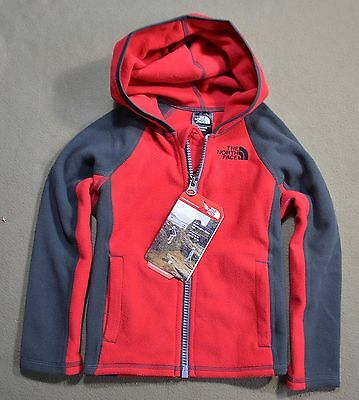 Nwt Kids The North Face Red Todd Glacier Fleece Full Zip Hoodie Jacket Sz 3T