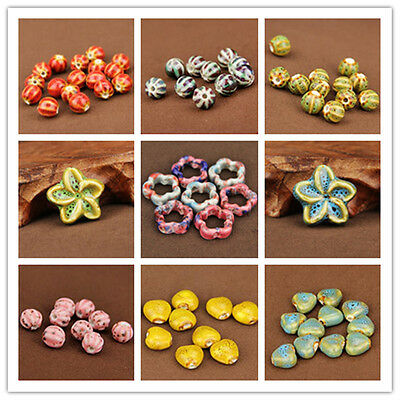5pcs Charm Mixing Shape Ceramic Porcelain Loose Spacer Big Hole Beads Jewelry