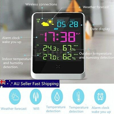 Wireless Digital Weather Station Thermometer Sensor Humidity Indoor Temperature