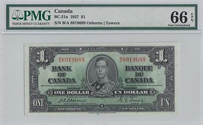 1937 BANK OF CANADA KGVI $1 **Osborne & Towers** (( GEM UNC - 66 EPQ ))
