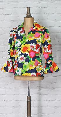 Womens Hippie Blouse Shirt Top Floral Vintage 60s look Carnival Costume UK 12/14