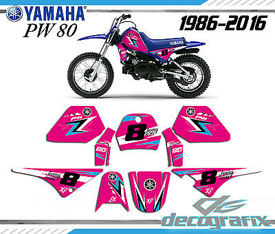 YAMAHA PW 80 Kit déco PINK80 personnalisable full decal kit name and number