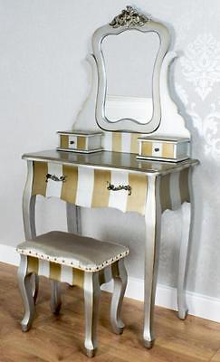 Champagne Stripe Dressing Table  Mirror And Stool