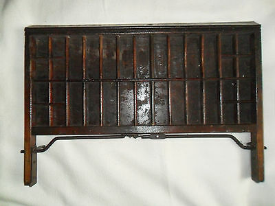 Vintage wooden printer's sectioned tray drawer display