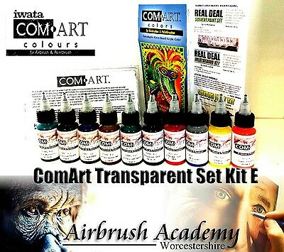 Com-Art Kit E Opaque Secondary set, airbrush paint, comart , com art, 10 colours