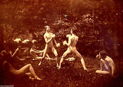 Postcard / Thomas Eakins / 7 males, nude, 2 boxing at center 1883 / Gay Interest