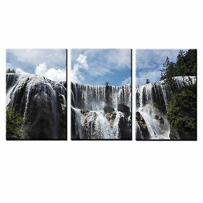FRAMED HD Canvas Prints Waterfall Photo Wall Art Canvas Oil Painting Print-3pcs