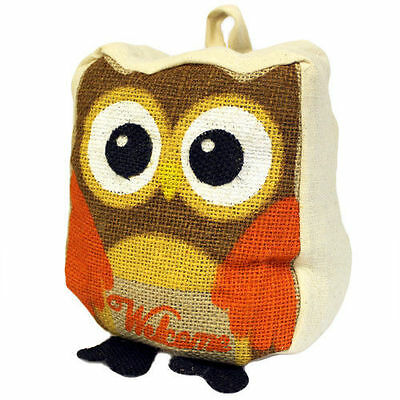 Owl Cotton & Jute Door Stop -Flat Packed Unfilled Door Weight Stopper Fabric Bag