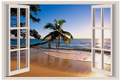 Tropical Sunshine Beach Palm Tree Window View Decal Graphic WALL STICKER Mural