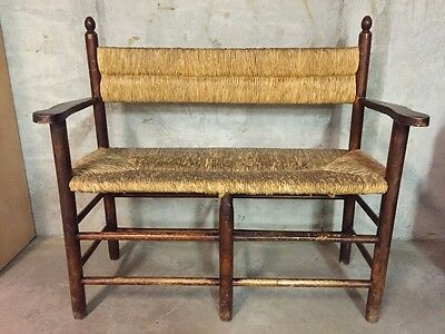 Antique Bench with Rush Seat