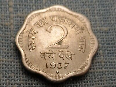 INDIA REPUBLIC  1957 b   2 NAYE PAISE  FOREIGN COIN  KM#11
