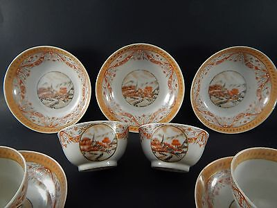Nine Antique 18th Century Chinese Export Sepia Cups & Saucers Village Scenes