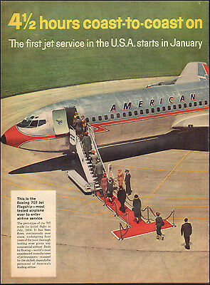 1958 Vintage ad for American Airlines`Boeing 707 Jet Photo 2-pgs(103116)