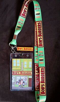 NEW Bob's Burgers Belcher Family Business Lanyard ID Card Holder with Logo Charm