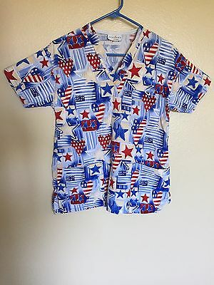 Women's Peaches 4th Of July Scrub Top Size Small