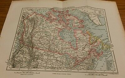 Victorian Colour Map of British North America 22cm by 16cm Cassell & Co 1901