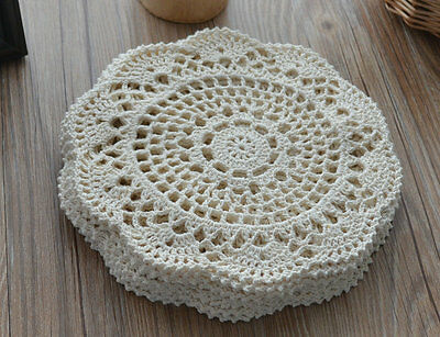 "Dozen 8"" Round Cream Hand Crochet Lace Doilies Coasters Lot"