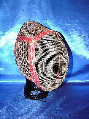 Antique  Metal Wire Fencing Helmet Mask Leather bound Steel Mesh