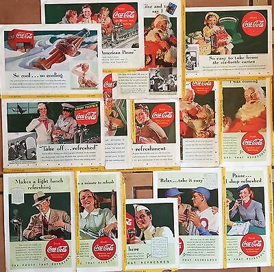 Coca Cola Lot Of 36 Ads From 1933 to 1940