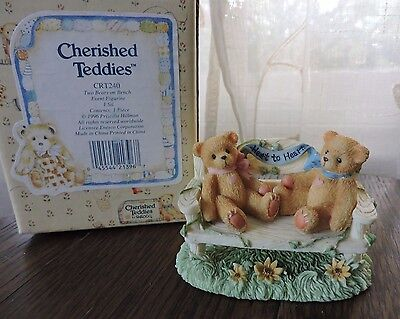 Cherished Teddies CRT240 Two Bears on Bench Event Figurine Heart to Heart 1996