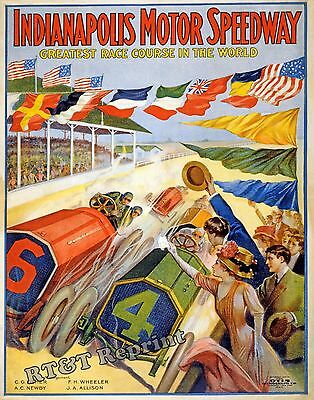 Historical Poster of the 1909 Indy / Indianapolis Motor Speedway Race  11x14