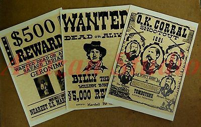 """Set 3 """"Outlaw Cowboy  Wanted"""" prints ready to frame. Ideal for stables & bars"""
