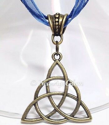 *Triquetra Bronze*_ROYAL BLUE Ribbon Necklace + Pendant_Celtic Knot Trinity_N354