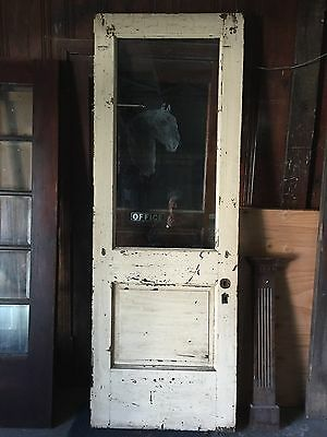 "31 3/4"" x 89 1/2"" ANTIQUE SHABBY COTTAGE BEVELED GLASS EXTERIOR ENTRANCE DOOR"