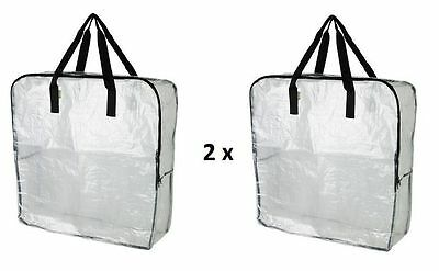 2 x IKEA DIMPA Large Clear Transparent Plastic Zipped Storage Bags