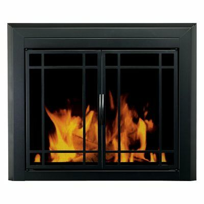 Pleasant Hearth Easton Prairie Cabinet Fireplace Screen and 9-Pane Smoked Glass
