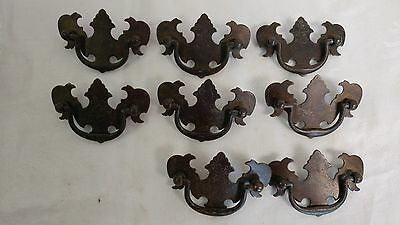 8 Vintage Antique Colonial Chippendale hardware, drawer pulls, handles