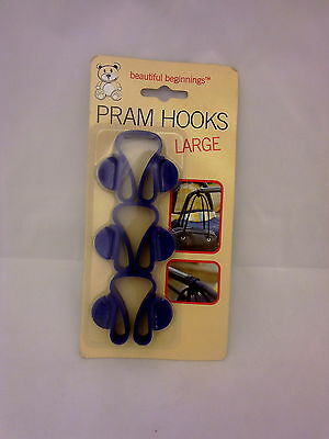 3pc  Large Size Pram or Buggy Hooks For Holding Bags Easy to fit handy for Mums